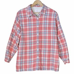 L.L.Bean Red Plaid Sherpa-Lined Button Up Shirt
